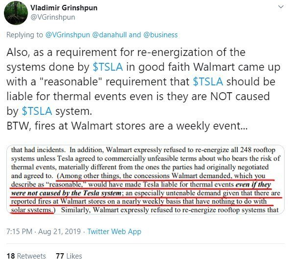 Mr. Grinshpun discovers why Walmart obstructed Tesla's efforts to re-energize inspected sites