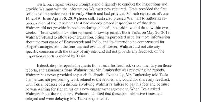 Legal documents show that Walmart never provided Tesla any feedback after the inspections