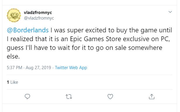 Epic Games Store Tweet