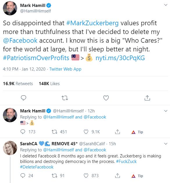 mark hamill slams mark zuckerberg deletes facebook tweet
