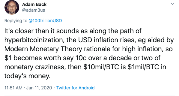 Adam Back suggests that USD inflation will bring about Finney's $10 per million BTC